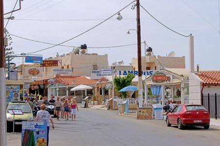 Strandpromenade Stalis: Restaurants, Cafes, Bars, Geschäfte