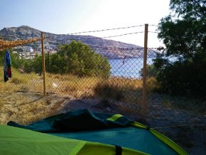 Campingplatz Matala - Zelt mit Meerblick